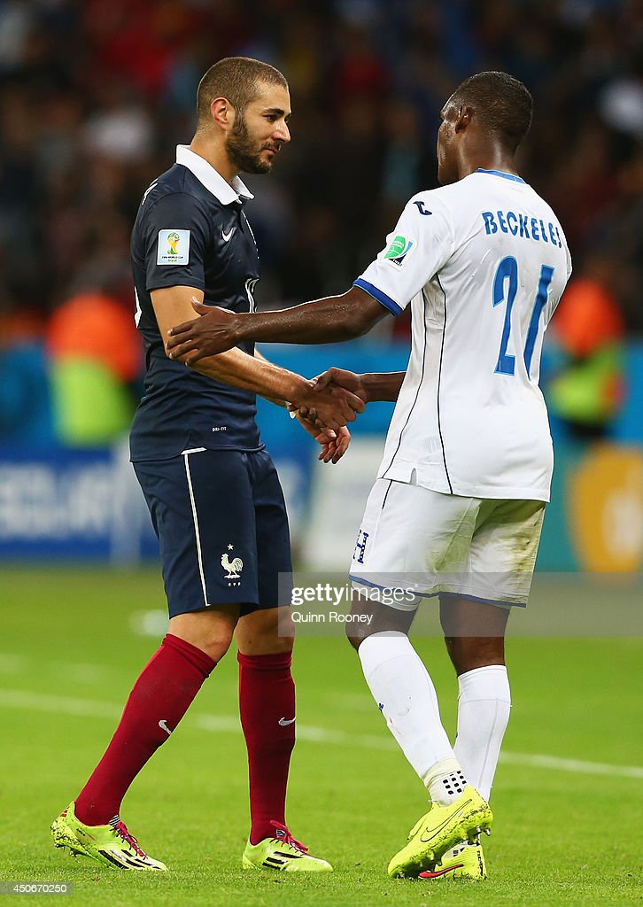 <a gi-track='captionPersonalityLinkClicked' href=/galleries/search?phrase=Karim+Benzema&family=editorial&specificpeople=796089 ng-click='$event.stopPropagation()'>Karim Benzema</a> of France (L) and <a gi-track='captionPersonalityLinkClicked' href=/galleries/search?phrase=Brayan+Beckeles&family=editorial&specificpeople=7834358 ng-click='$event.stopPropagation()'>Brayan Beckeles</a> of Honduras shake hands during the 2014 FIFA World Cup Brazil Group E match between France and Honduras at Estadio Beira-Rio on June 15, 2014 in Porto Alegre, Brazil.