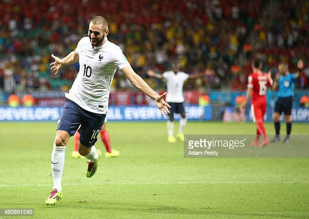 Karim Benzema of France celebrates a goal that came after the referee had blown full time during the 2014 FIFA World Cup Brazil Group E match between...