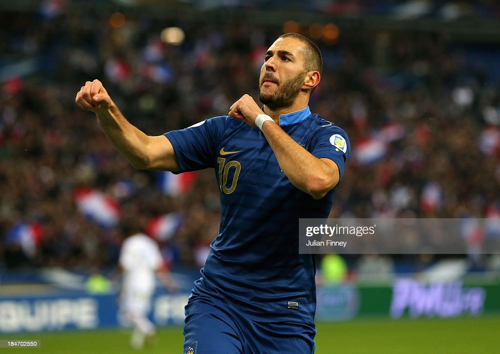 <a gi-track='captionPersonalityLinkClicked' href=/galleries/search?phrase=Karim+Benzema&family=editorial&specificpeople=796089 ng-click='$event.stopPropagation()'>Karim Benzema</a> of France celebrates scoring his teams third goal during the FIFA 2014 World Cup Qualifying Group I match between France and Finland at the Stade de France on October 15, 2013 in Paris, France.