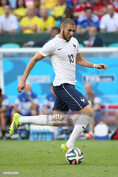 Karim Benzema of France in action during the 2014 FIFA World Cup Brazil Group E match between Switzerland and France at Arena Fonte Nova on June 20...