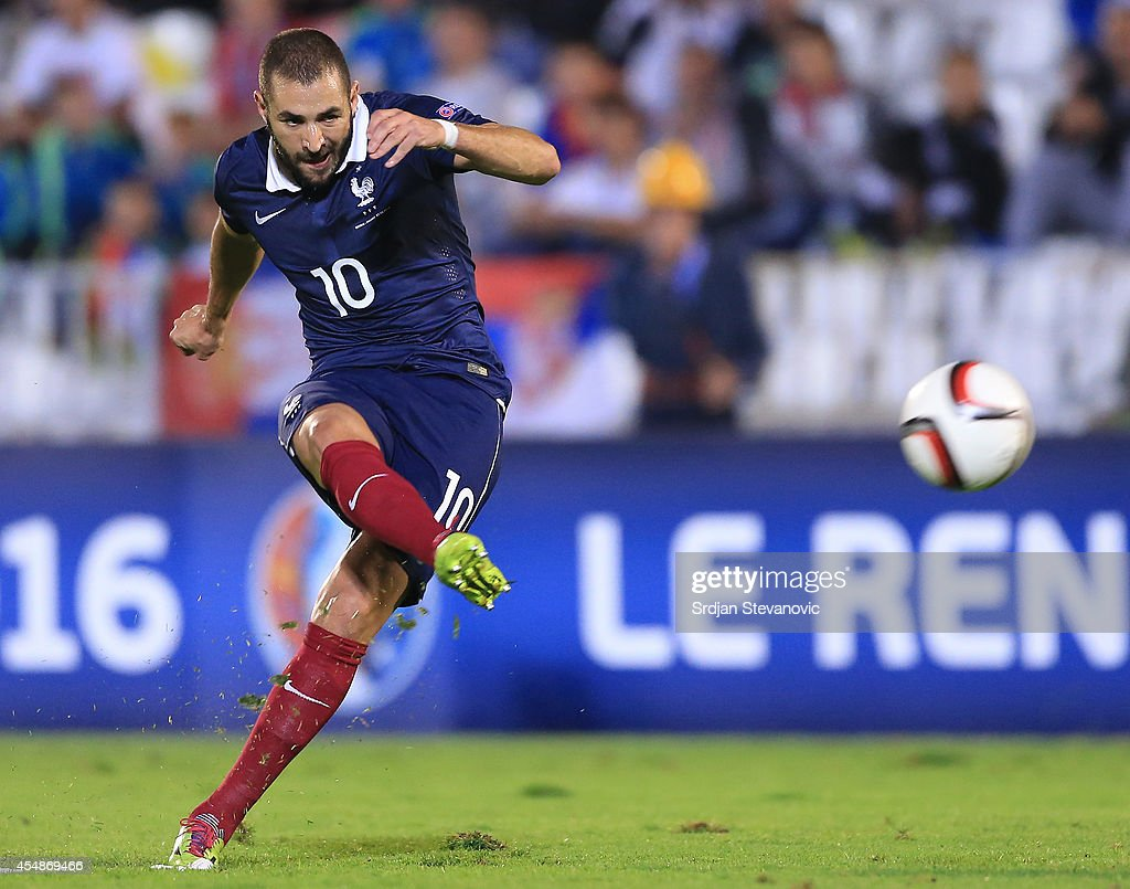 Karim Benzema of France in action during the International friendly match between Serbia and France at the Stadium JNA on September 07 2014 in...