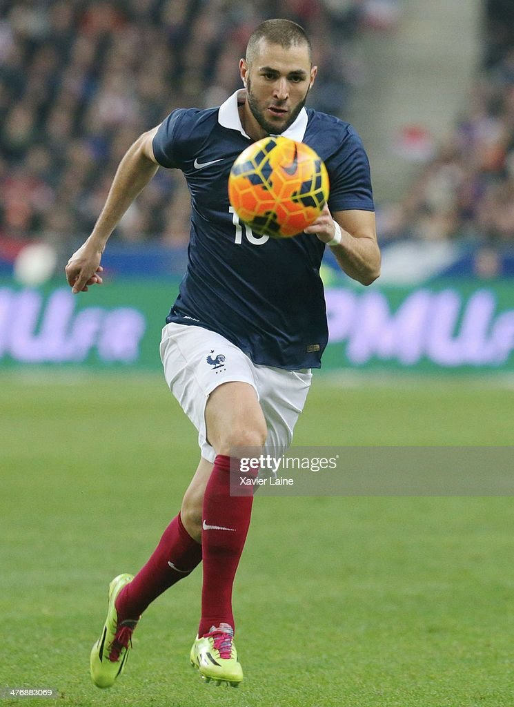 <a gi-track='captionPersonalityLinkClicked' href=/galleries/search?phrase=Karim+Benzema&family=editorial&specificpeople=796089 ng-click='$event.stopPropagation()'>Karim Benzema</a> of France in action during the International Friendly games between France and Netherlands at Stade de France on March 5, 2014 in Paris, France.