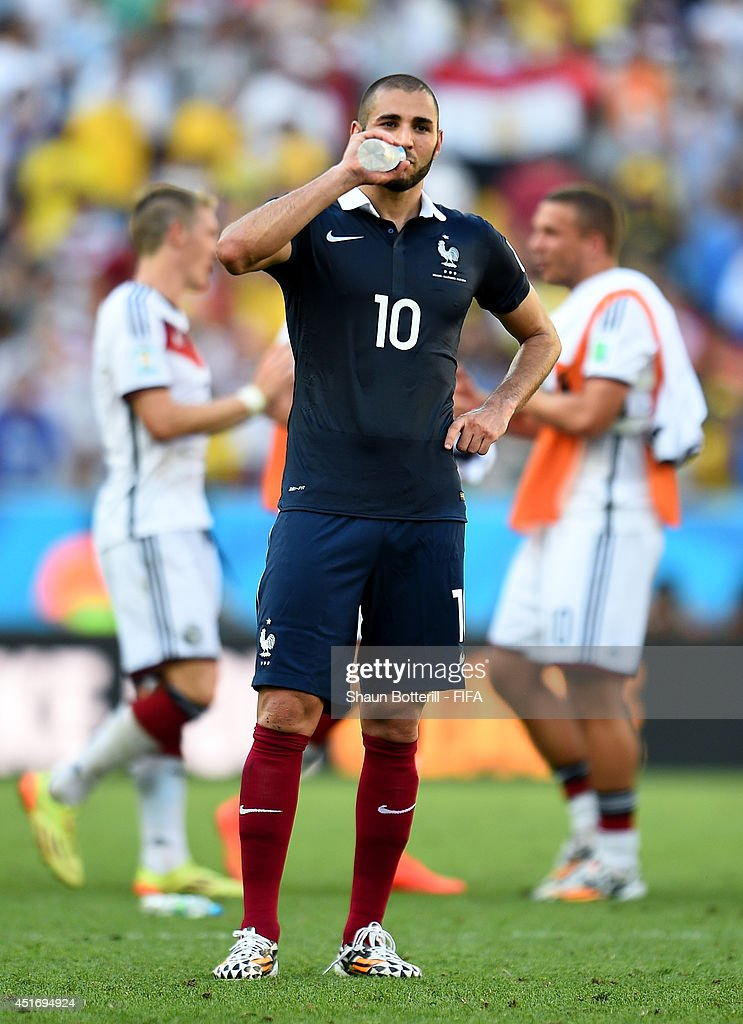 <a gi-track='captionPersonalityLinkClicked' href=/galleries/search?phrase=Karim+Benzema&family=editorial&specificpeople=796089 ng-click='$event.stopPropagation()'>Karim Benzema</a> of France reacts after the 0-1 defeat in the 2014 FIFA World Cup Brazil Quarter Final match between France and Germany at Maracana on July 4, 2014 in Rio de Janeiro, Brazil.