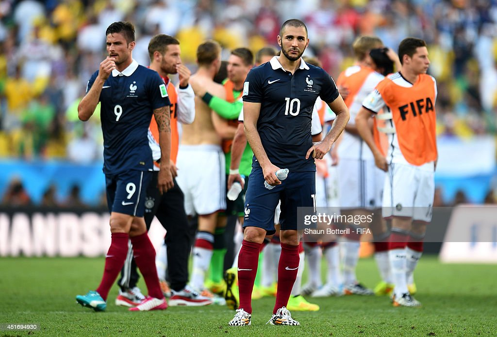 Karim Benzema of France reacts after the 01 defeat in the 2014 FIFA World Cup Brazil Quarter Final match between France and Germany at Maracana on...