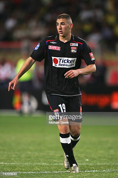 Karim Benzema of Lyon during the Ligue 1 match between Monaco and Lyon at the Stade Louis II May 19 2007 in Monte Carlo Monaco