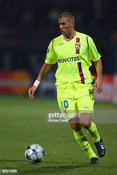Karim Benzema of Lyon during the UEFA Champions League Group F match between Lyon and Fiorentina at the Stade de Gerland on September 17 2008 in Lyon...