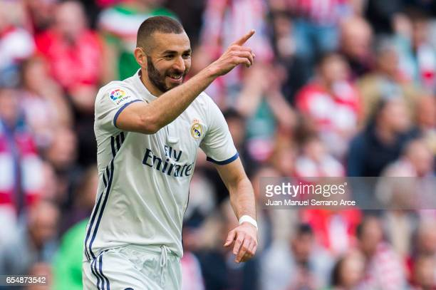 Karim Benzema of Real Madrid celebrates after scoring goal during the La Liga match between Athletic Club Bilbao and Real Madrid at San Mames Stadium...