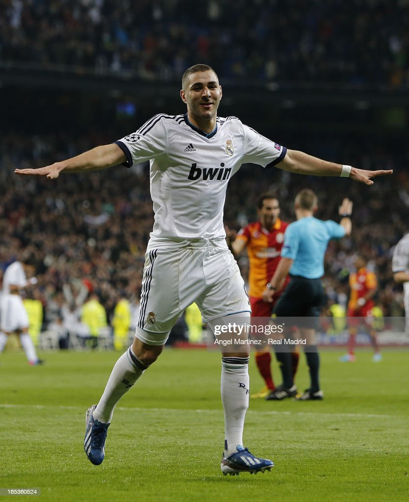 <a gi-track='captionPersonalityLinkClicked' href=/galleries/search?phrase=Karim+Benzema&family=editorial&specificpeople=796089 ng-click='$event.stopPropagation()'>Karim Benzema</a> of Real Madrid celebrates after scoring his team's second goal during the UEFA Champions League Quarter Final match between Real Madrid and Galatasaray at Estadio Santiago Bernabeu on April 3, 2013 in Madrid, Spain.