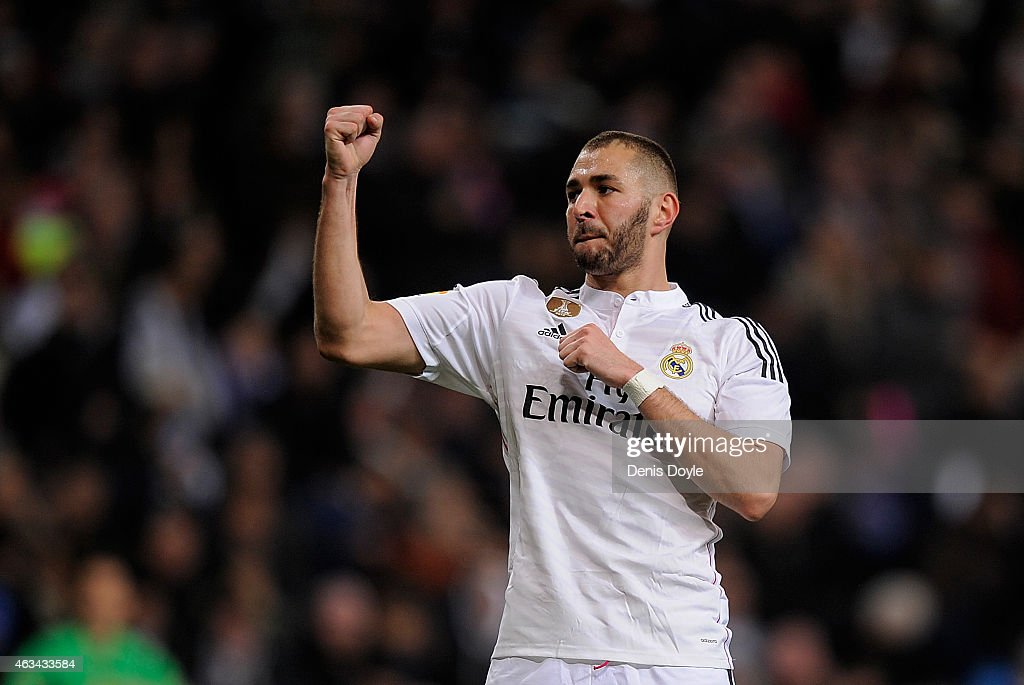 Karim Benzema of Real Madrid celebrates after scoring Real's 2nd goal during the La Liga match between Real Madrid CF and RC Deportivo La Coruna at Estadio Santiago Bernabeu on February 15, 2015 in Madrid, Spain.