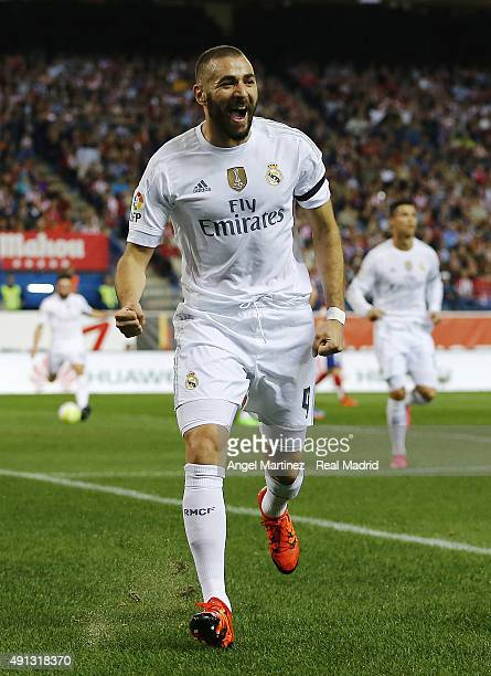 Karim Benzema of Real Madrid celebrates after scoring the opening goal during the La Liga match between Club Atletico de Madrid and Real Madrid CF at...
