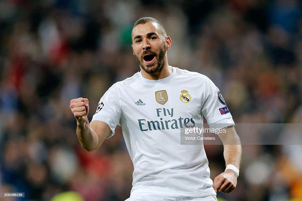 Karim Benzema of Real Madrid celebrates after scoring the opening goal during the UEFA Champions League Group A match between Real Madrid and Malmo FF at Estadio Santiago Bernabeu on December 8, 2015 in Madrid, Spain.