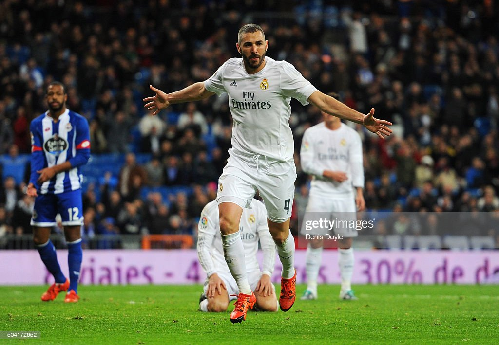 Karim Benzema of Real Madrid (9) celebrates as he scores their fifth goal during the La Liga match between Real Madrid CF and RC Deportivo La Coruna at Estadio Santiago Bernabeu on January 9, 2016 in Madrid, Spain.