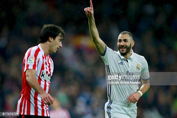 Karim Benzema of Real Madrid CF celebrates scoring their opening goal during the La Liga match between Real Madrid CF and Athletic Club de Bilbao at...