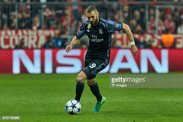 Karim Benzema of Real Madrid controls the ball during the UEFA Champions League Quarter Final first leg match between FC Bayern Muenchen and Real...