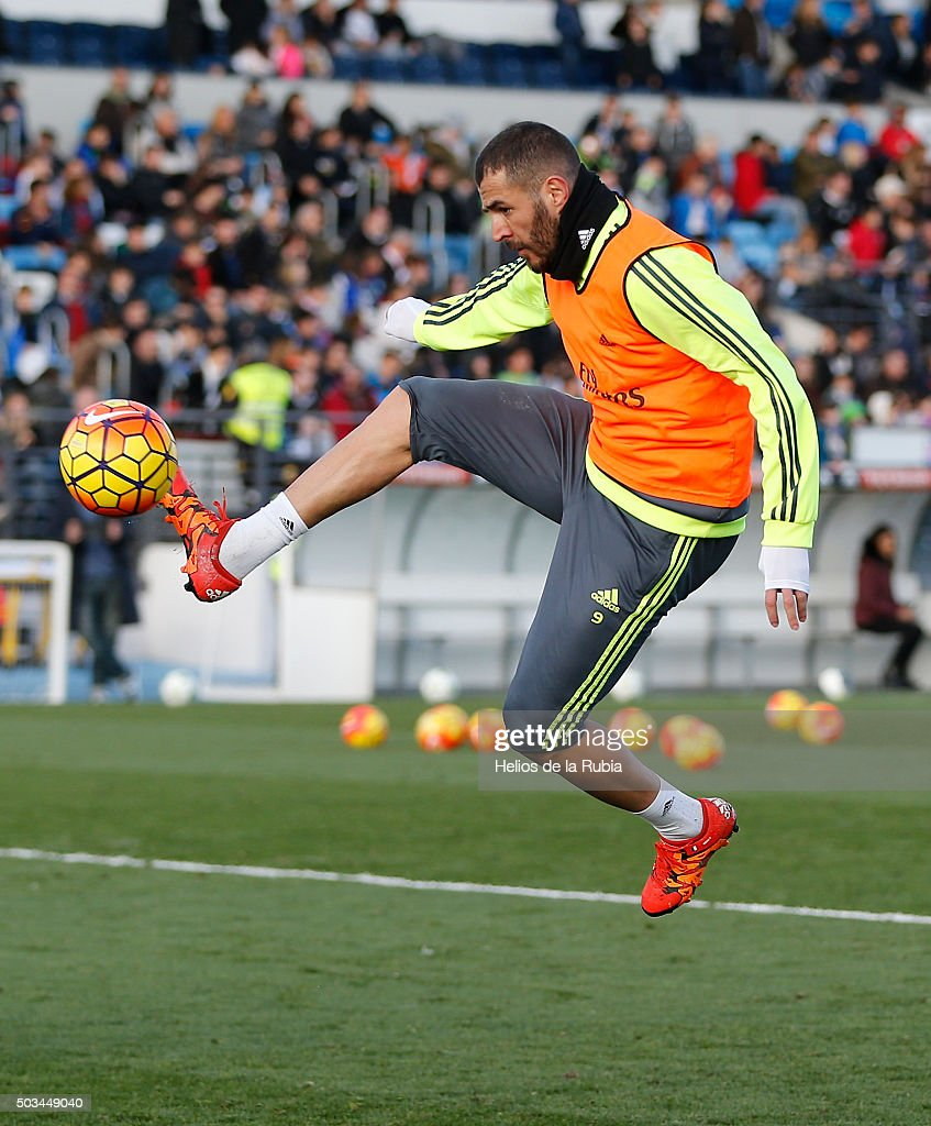 Karim Benzema of Real Madrid in action during a Real Madrid training session at Valdebebas training ground on January 5, 2016 in Madrid, Spain.