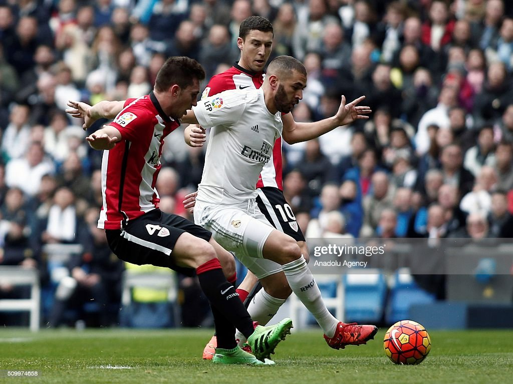 Karim Benzema (R) of Real Madrid in action during La Liga Football match between Real Madrid and Athletic Bilbao at Santiago Bernabeu Stadium in Madrid, Spain on February 13, 2016.
