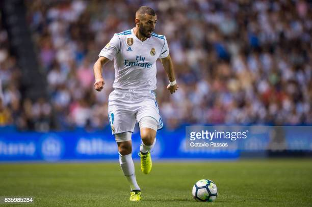 Karim Benzema of Real Madrid in action during the La Liga match between Deportivo La Coruna and Real Madrid at Riazor Stadium on August 20 2017 in La...