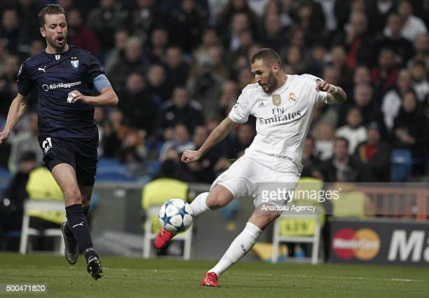 Karim Benzema of Real Madrid is in action during the UEFA Champions League Group A match between Real Madrid CF and Malmo FF at the Santiago Bernabeu...