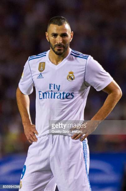 Karim Benzema of Real Madrid looks on during the La Liga match between Deportivo La Coruna and Real Madrid at Riazor Stadium on August 20 2017 in La...