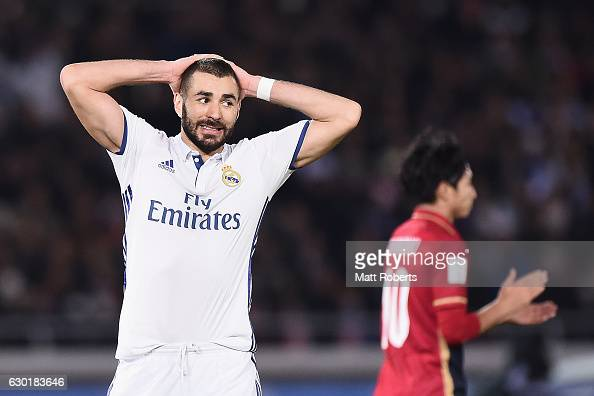 Karim Benzema of Real Madrid reacts during the FIFA Club World Cup final match between Real Madrid and Kashima Antlers at International Stadium...