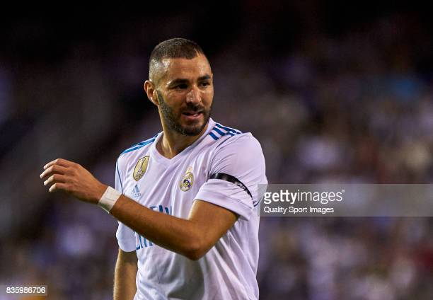 Karim Benzema of Real Madrid reacts during the La Liga match between Deportivo La Coruna and Real Madrid at Riazor Stadium on August 20 2017 in La...