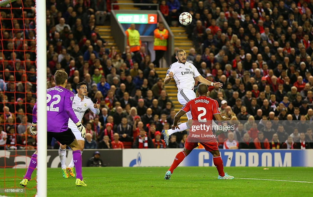 Karim Benzema of Real Madrid scores his team's second goal during the UEFA Champions League Group B match between Liverpool and Real Madrid CF on...