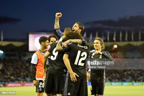 Karim Benzema Sergio Ramos and Marcelo of Real Madrid celebrates the third goal against RC Celta during the La Liga match between Celta Vigo and Real...