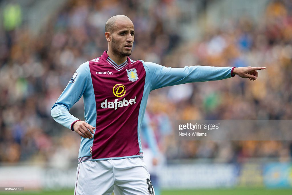 <a gi-track='captionPersonalityLinkClicked' href=/galleries/search?phrase=Karim+El+Ahmadi&family=editorial&specificpeople=2345993 ng-click='$event.stopPropagation()'>Karim El Ahmadi</a> of Aston Villa during the Barclays Premier League match between Hull City and Aston Villa at the KC Stadium on October 05, 2013 in Hull, England.