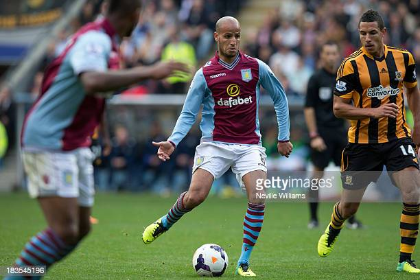 Karim El Ahmadi of Aston Villa during the Barclays Premier League match between Hull City and Aston Villa at the KC Stadium on October 05 2013 in...