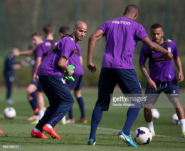 Karim El Ahmadi of Aston Villa in action during a Aston Villa training session at the club's training ground at Bodymoor Heath on April 10 2014 in...