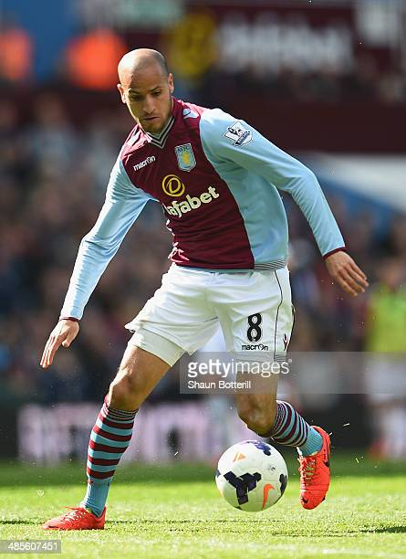 Karim El Ahmadi of Aston Villa in action during the Premier League match between Aston Villa and Southampton at Villa Park on April 19 2014 in...