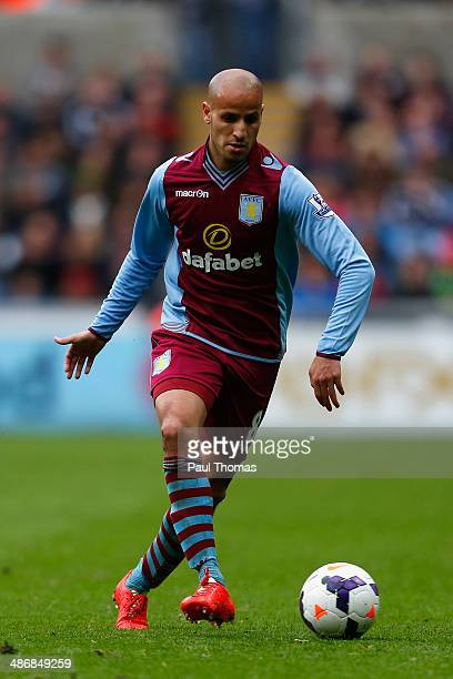 Karim El Ahmadi of Aston Villa on the ball during the Barclays Premier League match between Swansea City and Aston Villa at Liberty Stadium on April...