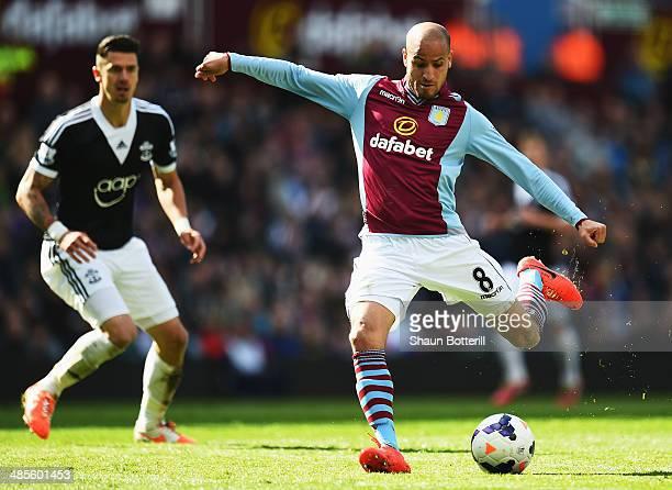 Karim El Ahmadi of Aston Villa shoots on goal during the Barclays Premier League match between Aston Villa and Southampton at Villa Park on April 19...