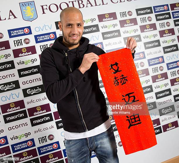 Karim El Ahmadi of Aston Villa writes his name in chinese at the club's training ground at Bodymoor Heath on January 22 2014 in Birmingham England