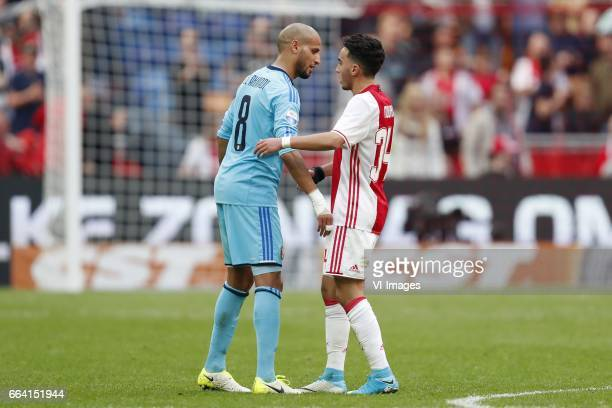 Karim El Ahmadi of Feyenoord Abdelhak Nouri of Ajaxduring the Dutch Eredivisie match between Ajax Amsterdam and Feyenoord Rotterdam at the Amsterdam...