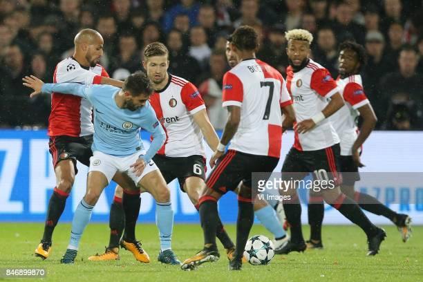 Karim El Ahmadi of Feyenoord Bernardo Silva of Manchester City JanArie van der Heijden of Feyenoord JeanPaul Boetius of Feyenoord Tonny Vilhena of...