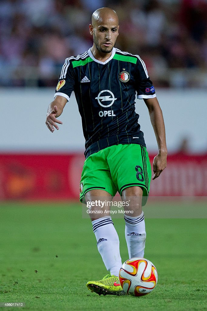 <a gi-track='captionPersonalityLinkClicked' href=/galleries/search?phrase=Karim+El+Ahmadi&family=editorial&specificpeople=2345993 ng-click='$event.stopPropagation()'>Karim El Ahmadi</a> of Feyenoord controls the ball during the UEFA Europa League group G match between Sevilla FC and Feyenoord at Ramon Sanchez Pizjuan stadium on September 18, 2014 in Seville, Spain.
