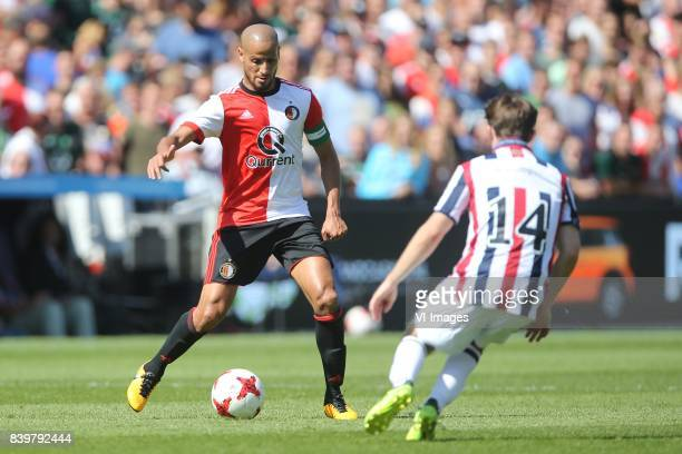 Karim El Ahmadi of Feyenoord Daniel Crowley of Willem II during the Dutch Eredivisie match between Feyenoord Rotterdam and Willem II Tilburg at the...