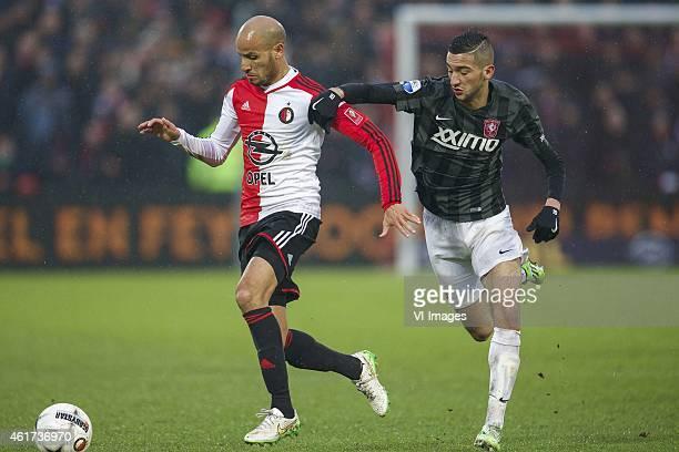 Karim El Ahmadi of Feyenoord Hakim Ziyech of FC Twente during the Dutch Eredivisie match between Feyenoord and FC Twente at the Kuip on January 18...