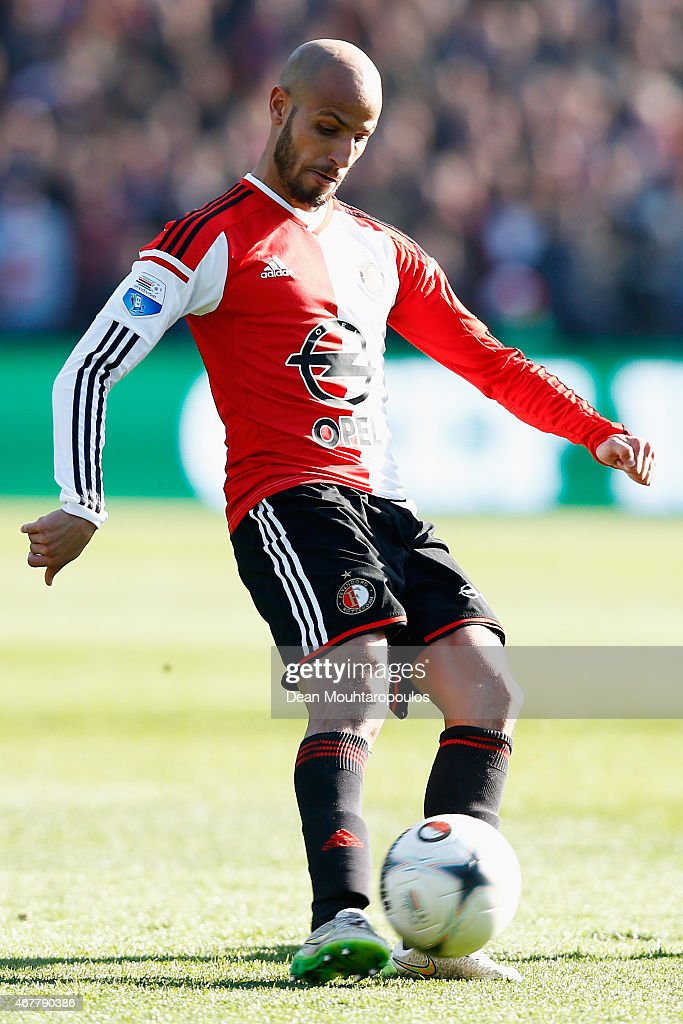 <a gi-track='captionPersonalityLinkClicked' href=/galleries/search?phrase=Karim+El+Ahmadi&family=editorial&specificpeople=2345993 ng-click='$event.stopPropagation()'>Karim El Ahmadi</a> of Feyenoord in action during the Dutch Eredivisie match between Feyenoord and PSV Eindhoven at De Kuip on March 22, 2015 in Rotterdam, Netherlands.