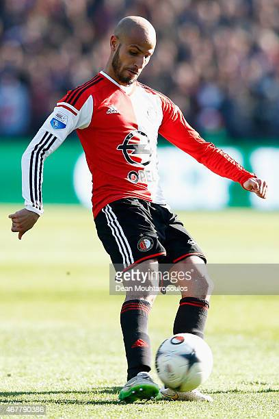Karim El Ahmadi of Feyenoord in action during the Dutch Eredivisie match between Feyenoord and PSV Eindhoven at De Kuip on March 22 2015 in Rotterdam...