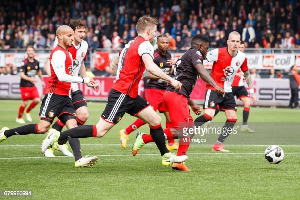 Karim El Ahmadi of Feyenoord JanArie van der Heijden of Feyenoord Nigel Hasselbaink of Excelsior Rick Karsdorp of Feyenoordduring the Dutch...