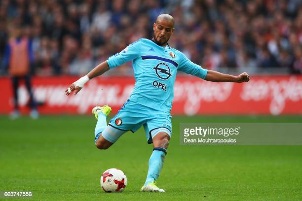 Karim El Ahmadi of Feyenoord Rotterdam shoots on goal during the Dutch Eredivisie match between Ajax Amsterdam and Feyenoord at Amsterdam ArenA on...