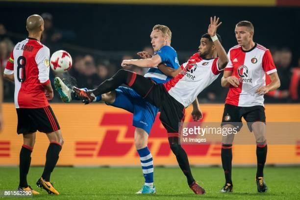 Karim El Ahmadi of Feyenoord Stef Stefan Nijland of PEC Zwolle Jeremiah St Juste of Feyenoord Sven van Beek of Feyenoord during the Dutch Eredivisie...