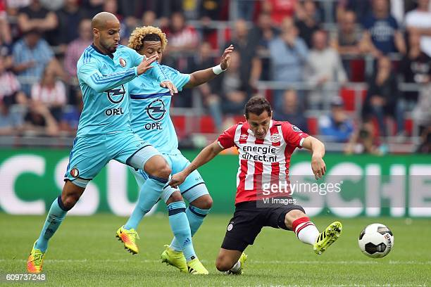 Karim El Ahmadi of Feyenoord Tonny Vilhena of Feyenoord Andres Guardado of PSV during the Dutch Eredivisie match between PSV Eindhoven and Feyenoord...