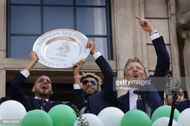 Karim El Ahmadi of Feyenoord Tonny Vilhena of Feyenoord Dirk Kuyt of Feyenoordduring Feyenoord Rotterdam honored Eredivisie champions at the...