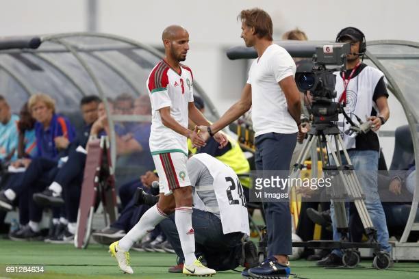 Karim El Ahmadi of Morocco coach Herve Renard of Moroccoduring the friendly match between Morocco and The Netherlands at Grand Stade Adrar on May 31...