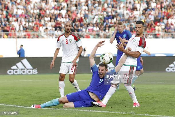 Karim El Ahmadi of Morocco Vincent Janssen of Holland Matthijs de Ligt of Holland Nabil Dirar of Moroccoduring the friendly match between Morocco and...