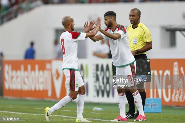 Karim El Ahmadi of Morocco Youssef Ait Bennasser of Moroccoduring the friendly match between Morocco and The Netherlands at Grand Stade Adrar on May...