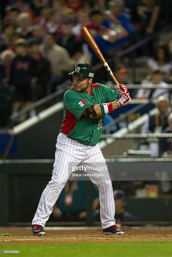 <a gi-track='captionPersonalityLinkClicked' href=/galleries/search?phrase=Karim+Garcia&family=editorial&specificpeople=214161 ng-click='$event.stopPropagation()'>Karim Garcia</a> #95 of Mexico bats against USA during the World Baseball Classic First Round Group D game on March 8, 2013 at Chase Field in Phoenix, Arizona.